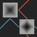 Lazers Puzzle. Colored rays icon