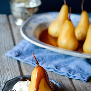 Earl Grey Poached Pears with Caramel Sauce