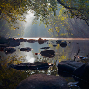 Clearfork River Sunrise by Chuck Hagan - Landscapes Waterscapes (  )