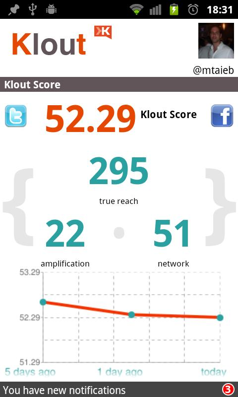 Klout for Android - screenshot