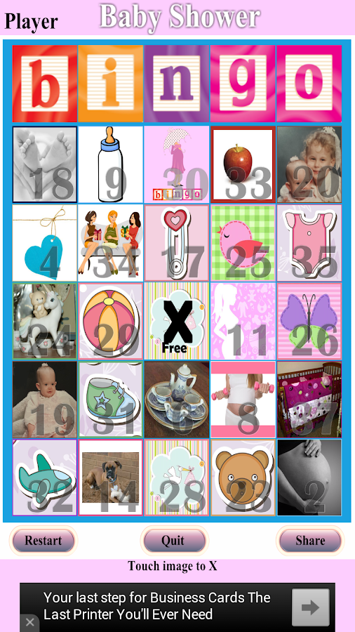 Baby Shower Bingo- screenshot