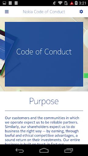 Nokia Code of Conduct 1.0.0 screenshots 2