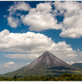 Volcano Arenal by Annette Flottwell - Landscapes Mountains & Hills ( volcano, big sky, guanacaste, arenal,  )