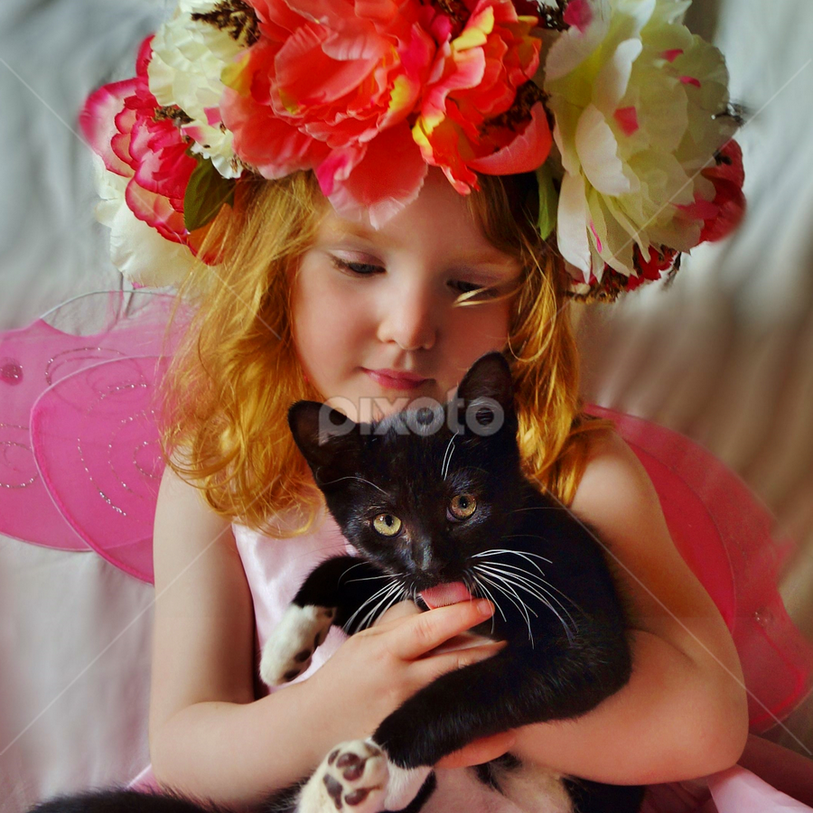 I Love My Kitty by Cheryl Korotky - Babies & Children Child Portraits ( b & w cats, enchanted imagination, a heartbeat in time photography, portrait, cats, cute cat pictures, red hair, girls & cats, amazing faces, beautiful children, child model nevaeh, kittens, love of cats, children & pets, flower halo, #GARYFONGPETS, #SHOWUSYOURPETS, , colorful, mood factory, vibrant, happiness, January, moods, emotions, inspiration )