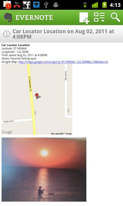 Car Locator Evernote Plugin - screenshot