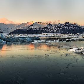 Sunpeak by Kaspars Dzenis - Landscapes Mountains & Hills ( glacier, mountains, jokulsarlon, iceland, winter, sunset, snow, lake, landscape )