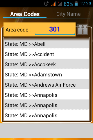 USA AREA CODES