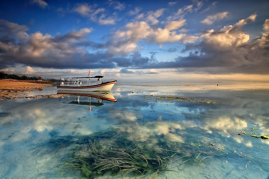 Morning Skies by Ina Herliana Koswara - Landscapes Cloud Formations ( water, reflection, waterscape, beach, boat, skies,  )