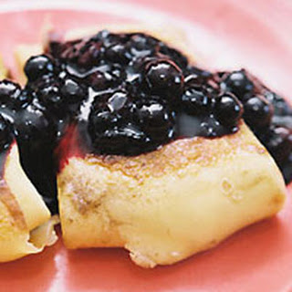 Cheese Blintzes with Blueberry Sauce