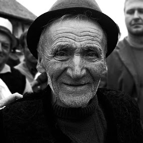 Rumanian by Kajsa Karlsson - People Street & Candids ( old, village, black and white, happy, rumania, old man, smile, man, smiling )