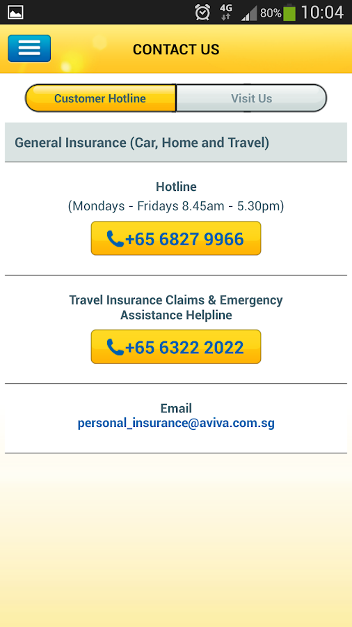Aviva Singapore Travel- screenshot