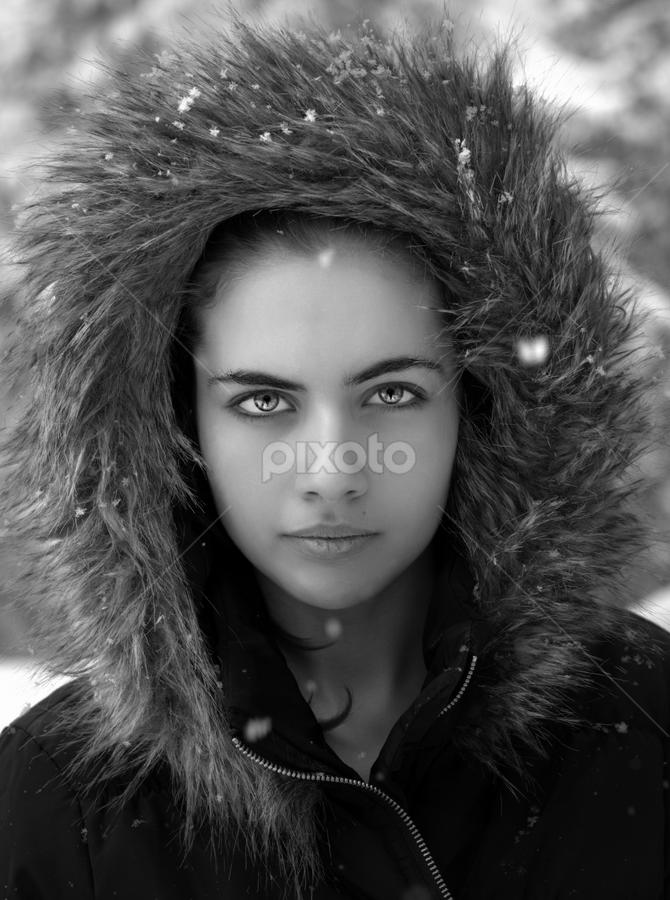 by Ivelin Zhelyazkov - Black & White Portraits & People ( style, wild hair, black and white, makeup, woman, snow, art, varna photographer, natural light model, nikon, portrait,  )