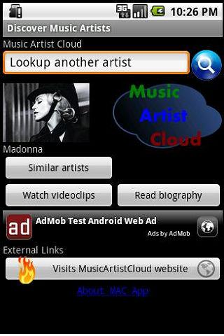 Music Artist Cloud App- screenshot