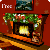 3D Christmas Fireplace HD Live Wallpaper
