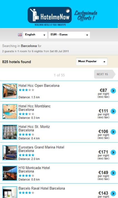 Cheap hotels tonight now - screenshot