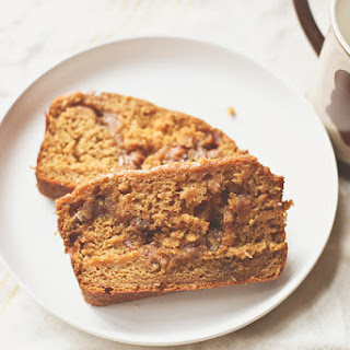 Pumpkin Bread with Cinnamon Pecan Filling.