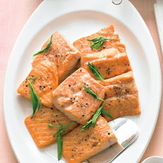 Salmon with Tarragon-Yogurt Sauce.