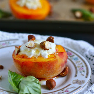 Roasted Peaches with Goat Cheese and Honey.