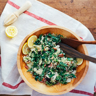 Shaved Brussels Sprout Salad with Bacon, Meyer Lemon, and Tart Dried Cherries