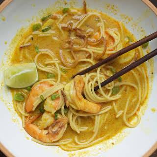 Thai Curry Noodles with Shrimp.