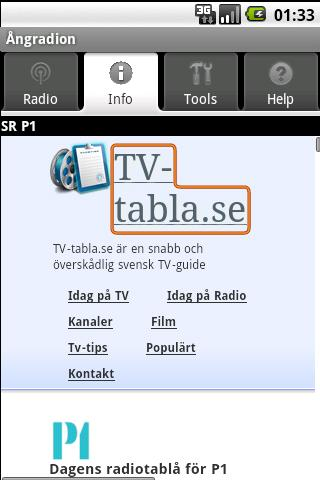 Ångradion (gratisapp)- screenshot