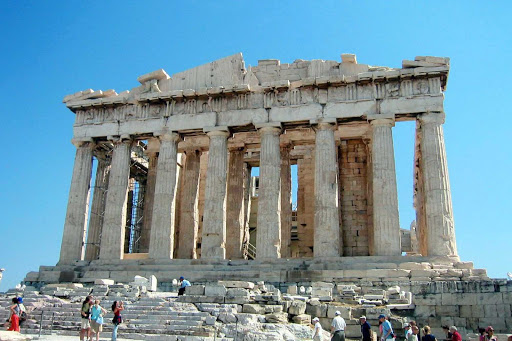 The iconic Parthenon in the Acropolis, Athens, Greece. Construction began in 447 BC when the Athenian Empire was at its height.