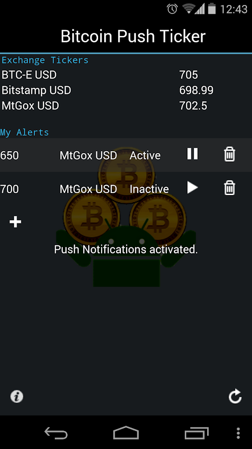 Bitcoin Push Ticker 3.0 - screenshot