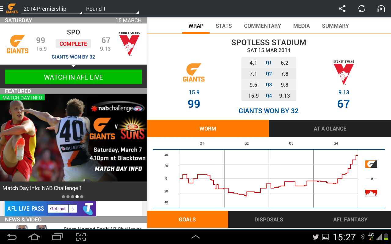 GWS Giants Official App - screenshot