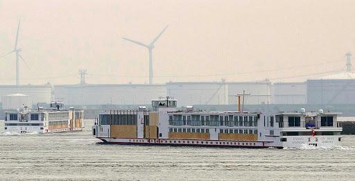 Viking-Heimdal-Amsterdam - The cabin passenger ship Viking Heimdal near Amsterdam, Netherlands.