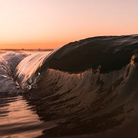 Peach Twist by Cameron Watts - Landscapes Waterscapes ( canon, waterscape, ocean, beach, beauty, landscape, coast, clean, nature, glass, gold, surf, motion, ocean view, light, water, sand, orange, crisp, waves, peach, sea, fun, seascape, sunset, wave, natural,  )