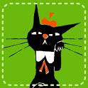 黒猫スタンプ 黒ねころびんちゃんSNSで使えるデコメ絵文字 icon