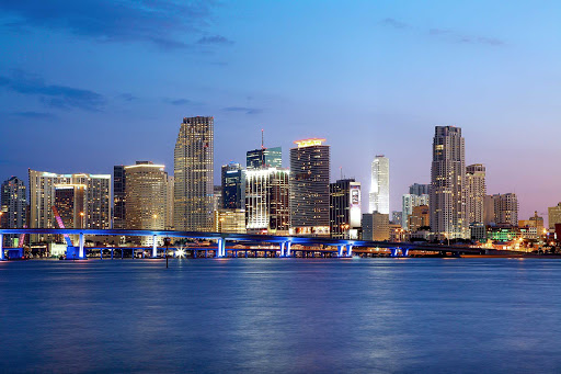 Downtown-Miami-Skyline-Night - The Miami skyline in early evening.