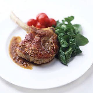 Pan-Roasted Veal Chops with Arugula.
