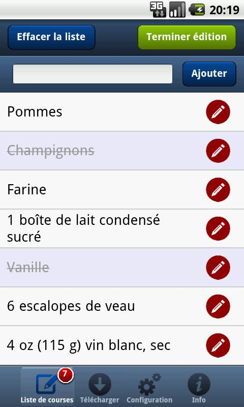 Liste de courses PC à Android- screenshot