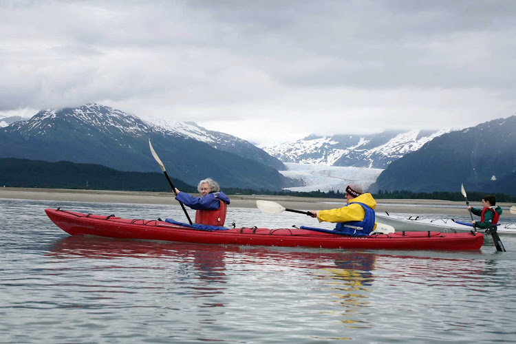 A kayak tour near Mendenhall Glacier outside of Juneau, Alaska.