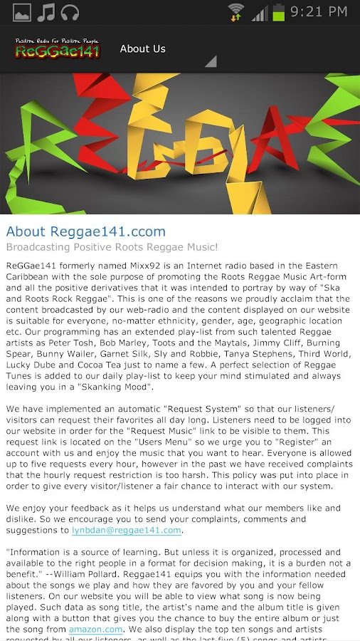 Reggae141.com - screenshot