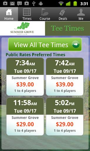 Summer Grove Golf Tee Times