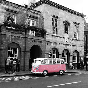Flower Power by Alexandra Rafaila - City,  Street & Park  Street Scenes ( car, old, building, selective color, black and white, vintage, street, architecture, united kingdom, city, england, hippie, pink,  )