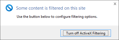Screenshot of IE ActiveX filtering dialog