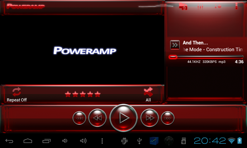 Poweramp skin red glass- screenshot