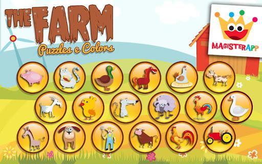 农场 - 拼图和色彩为孩子