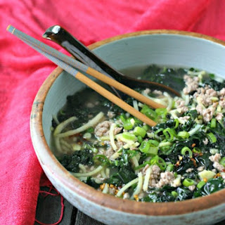"""Spicy Pork Soup with Kale and Japanese Sweet Potato """"Noodles""""."""