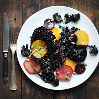 Roasted Kale and Beets with Honey-Horseradish Vinaigrette.