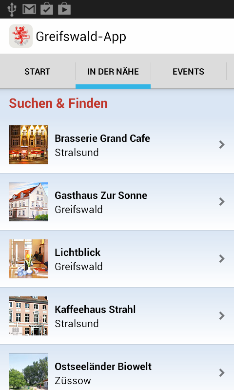 Greifswald-App – Screenshot