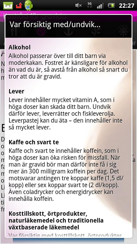 Kostråd och mat för gravida - screenshot
