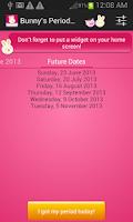 Screenshot of Bunnys Period Calendar/Tracker