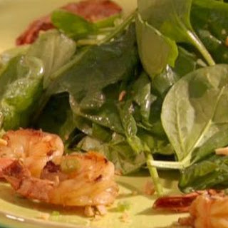 Soy Sauce-Grilled Shrimp with Spinach Salad and New-Style Scampi
