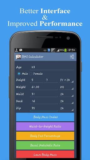 BMI BMR and Fat Calculator