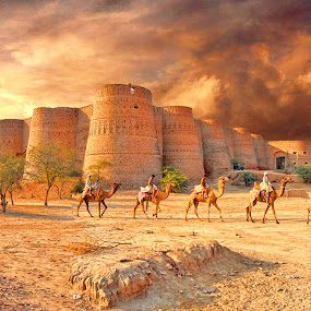 Derawer Fort, Cholistn ! by Agha Ahmed - Buildings & Architecture Public & Historical ( clouds, sky, desert, camels, journey, travel, travel photography, travel locations )
