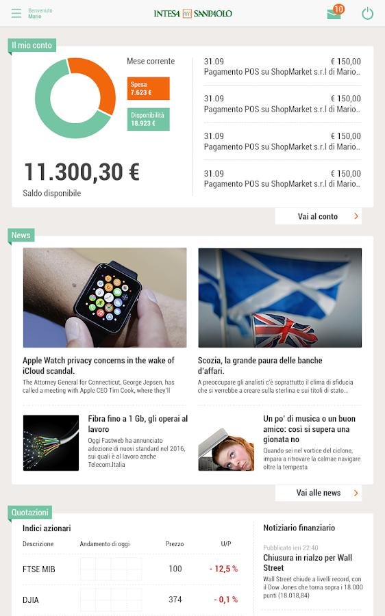 La tua banca per Tablet- screenshot
